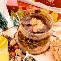 【限定款聖誕禮物】無藏開花茶10顆綜合花型x1鐵罐裝+台製耐熱玻璃壺 - 交換禮物特別組