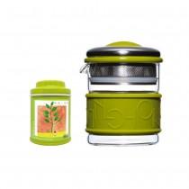 【簡單泡茶組】200ml綠色濾泡壺+18g金萱綠茶