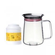 【簡單泡茶組】茶覺360玻璃茶壺 (5色可選 450ml)+30g玫瑰紅茶