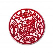 【玩美文創】台灣剪紙系列_吸水陶瓷_福氣兔福氣杯墊