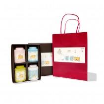 【無藏X紙箱貓】聖誕禮物_視覺療癒_開花茶4入罐裝禮盒(2款組合隨機)